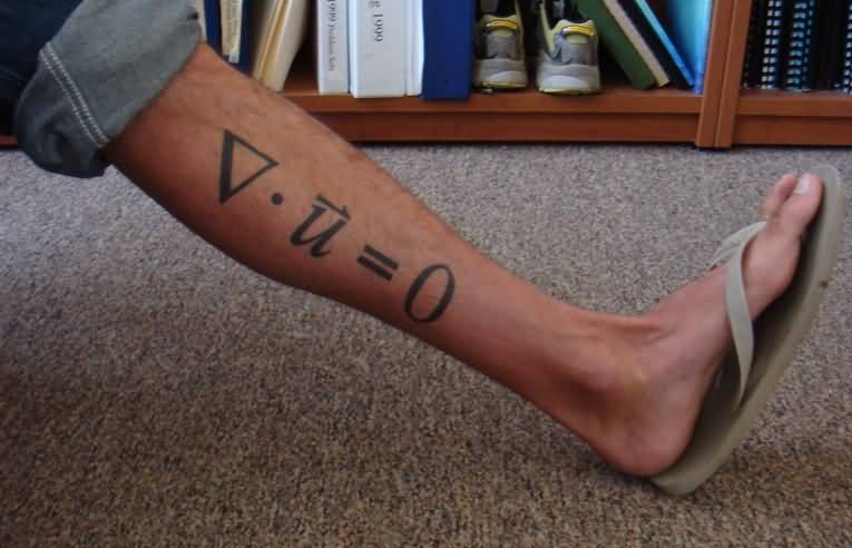 Grey Ink Physics Formula Tattoo On Leg