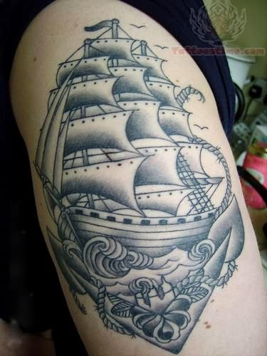 Grey Ink Simple Pirate Ship Tattoo Design Idea