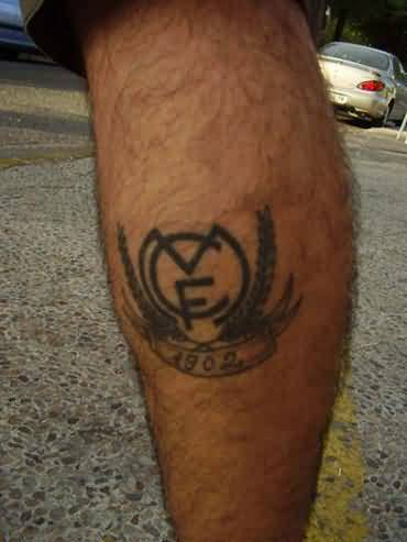Grey Ink Simple Real Madrid Logo Tattoo Design For Leg