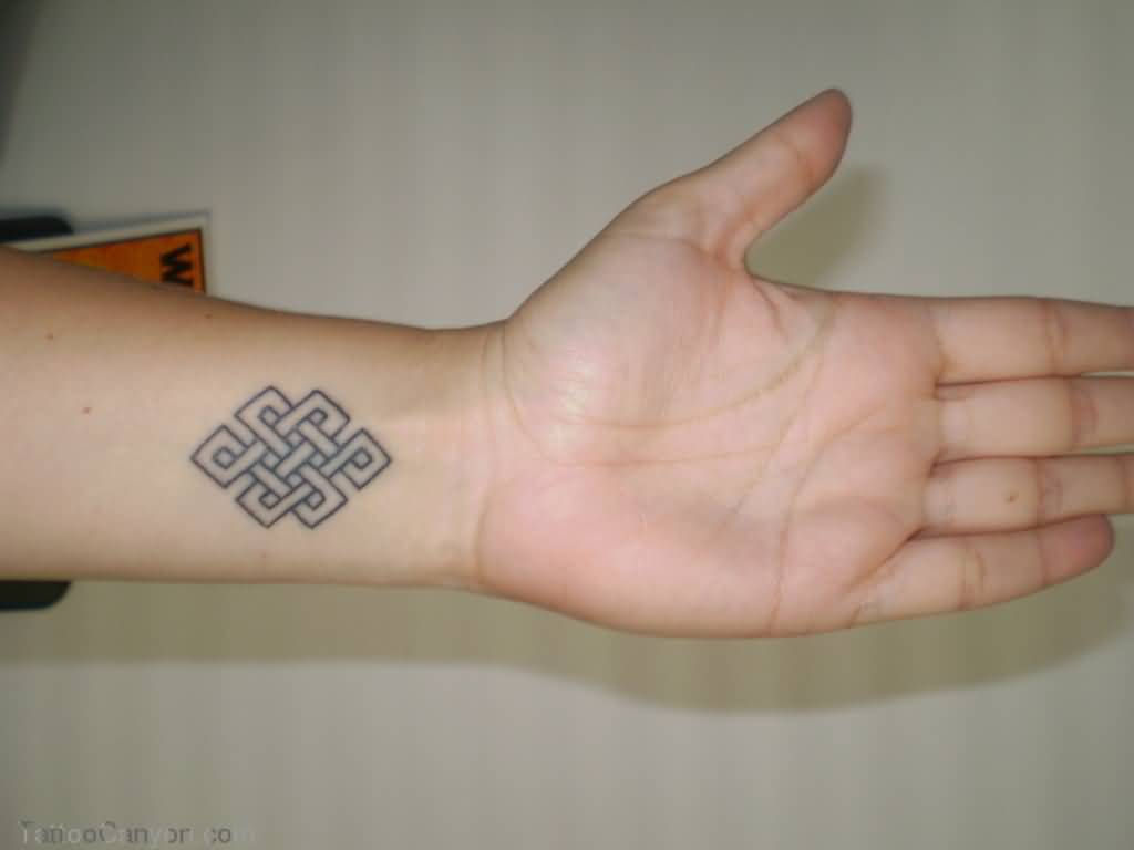 Grey Ink Small Endless Knot Tattoo Design On Wrist