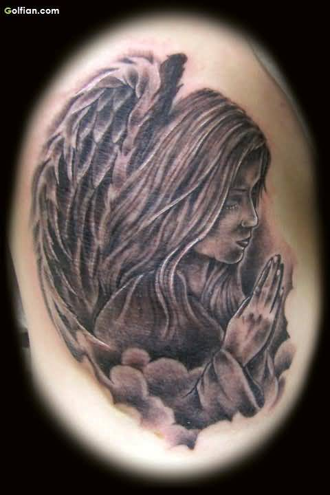 Grey Ink Sweet Praying Angel Tattoo