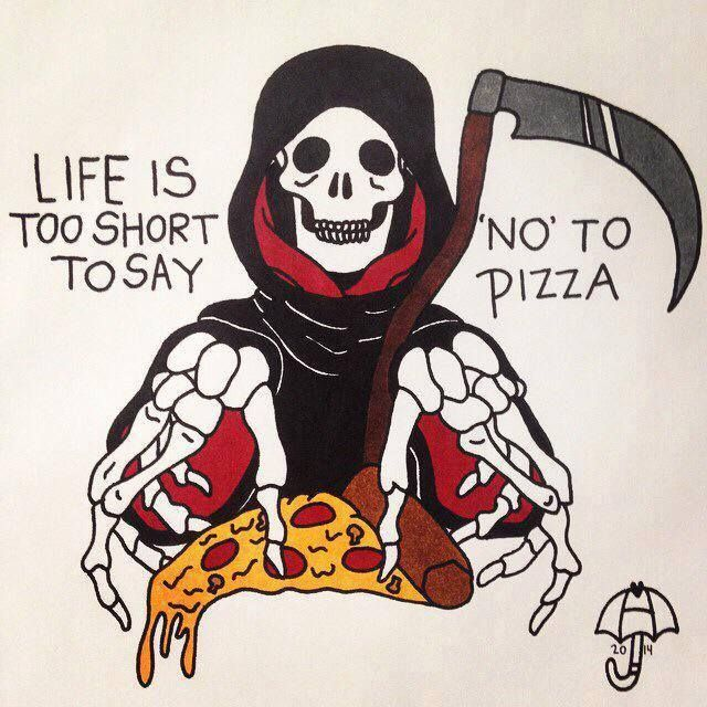 Grim Amazing Pizza Tattoo Design With Text