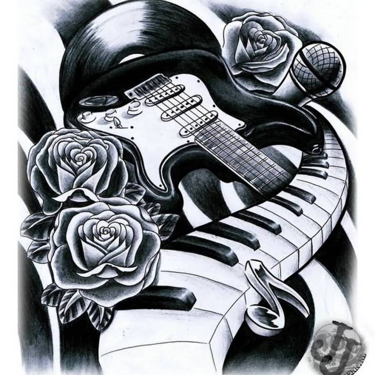Guitar Stencil With Amazing Piano Tattoo Design Idea