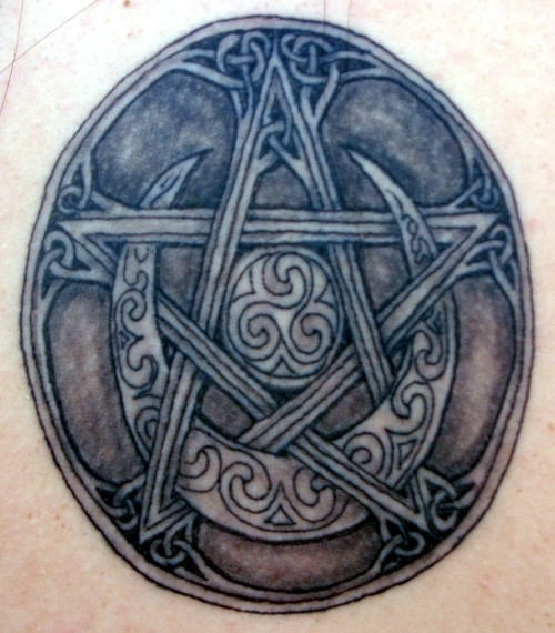 Half Moon Pagan Star Symbol Tattoo (2)