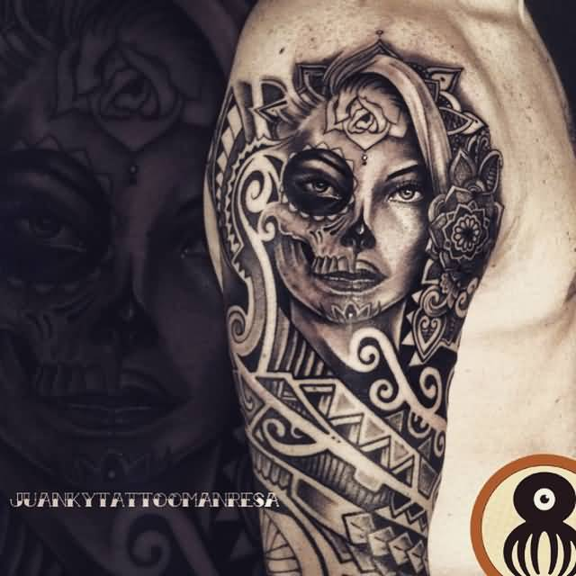Half Skull And Girl Catrina Tattoo Design On Half Sleeve