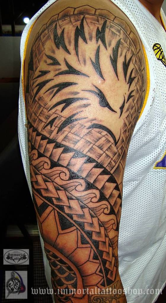 Half Sleeve Amazing Filipino Hawaiian Tribal Tattoo