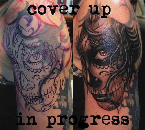 Half Sleeve Awesome And Purple Ink Before And After Catrina Girl Tattoo