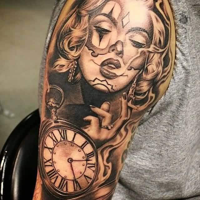 Half Sleeve Awesome Latino Smoking Girl Face And Pocket Watch Tattoo