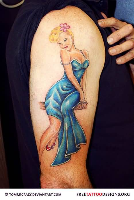 Half Sleeve Awesome Retro Pin Up Girl Tattoo