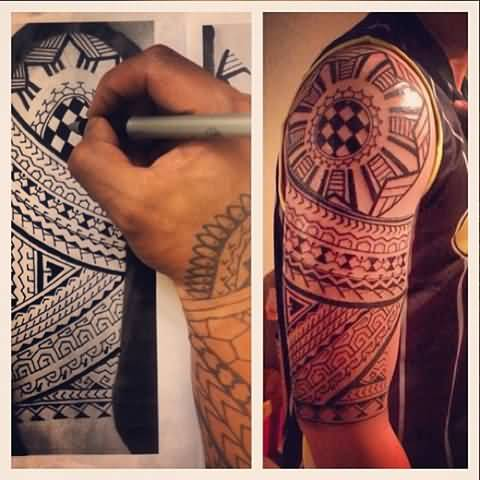 Half Sleeve Before And After Filipino Sun And Tribal Hawaiian Tattoo