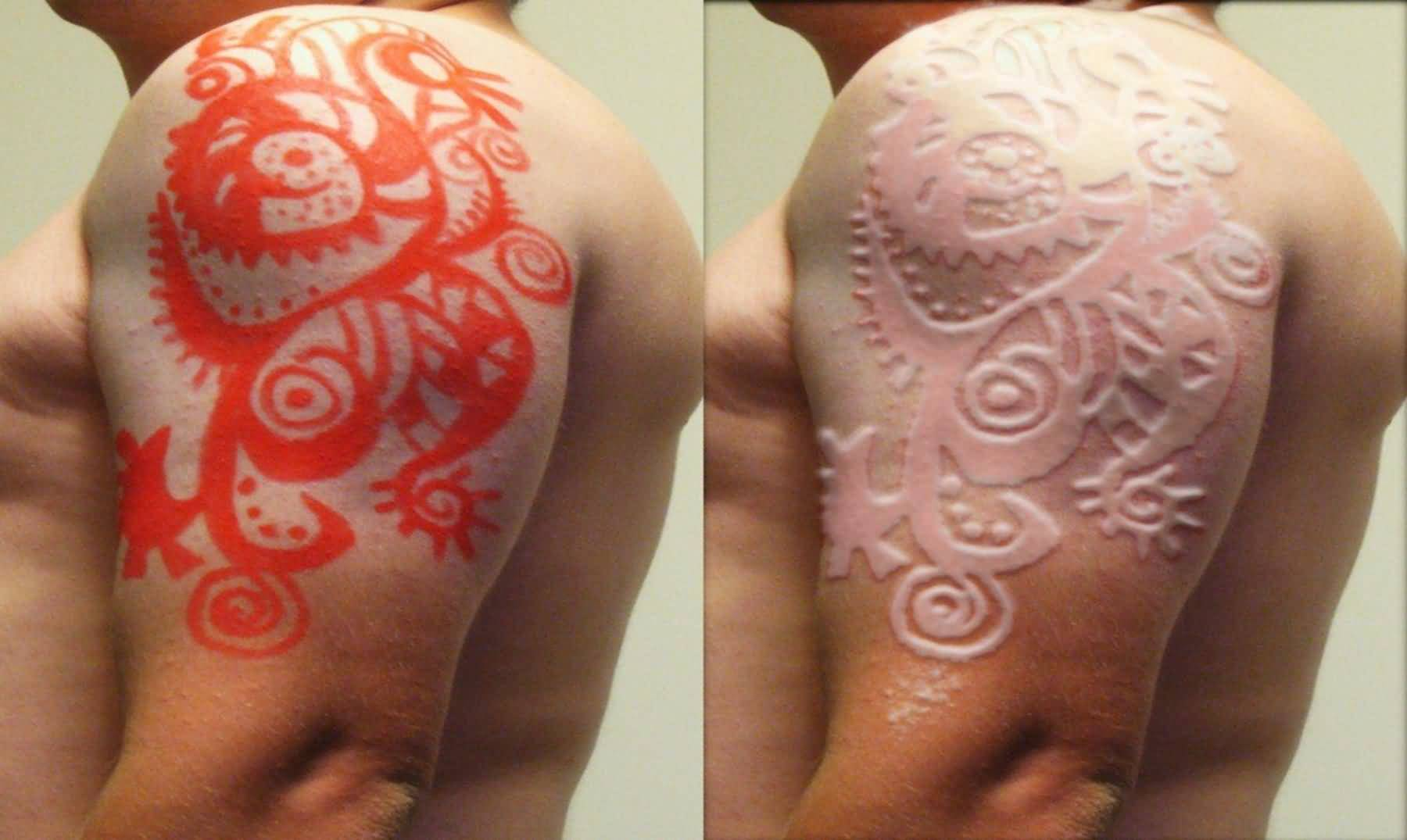 Half Sleeve Before And After Scarification Tattoo For Men