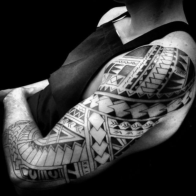 Half Sleeve Black Ink Amazing Samoan Tattoo