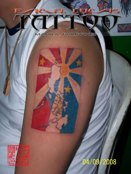Half Sleeve Colorful FilipinoSun Flag Tattoo For Men