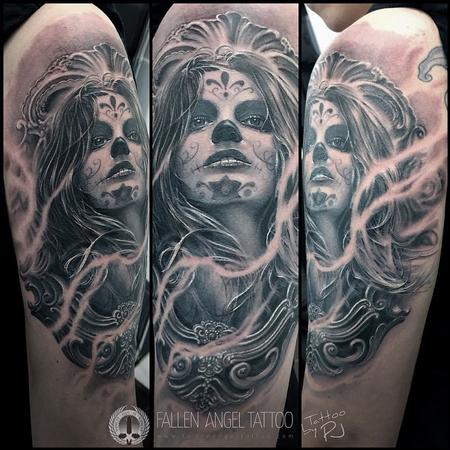Half Sleeve Grey Ink Awesome Catrina Face Tattoo