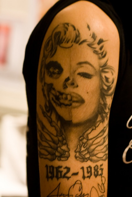 Half Sleeve Memorial Dtae With Skull Marilyn Monroe Tattoo