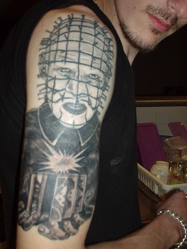 Half Sleeve Nice And Simple Pinhead Tattoo Design