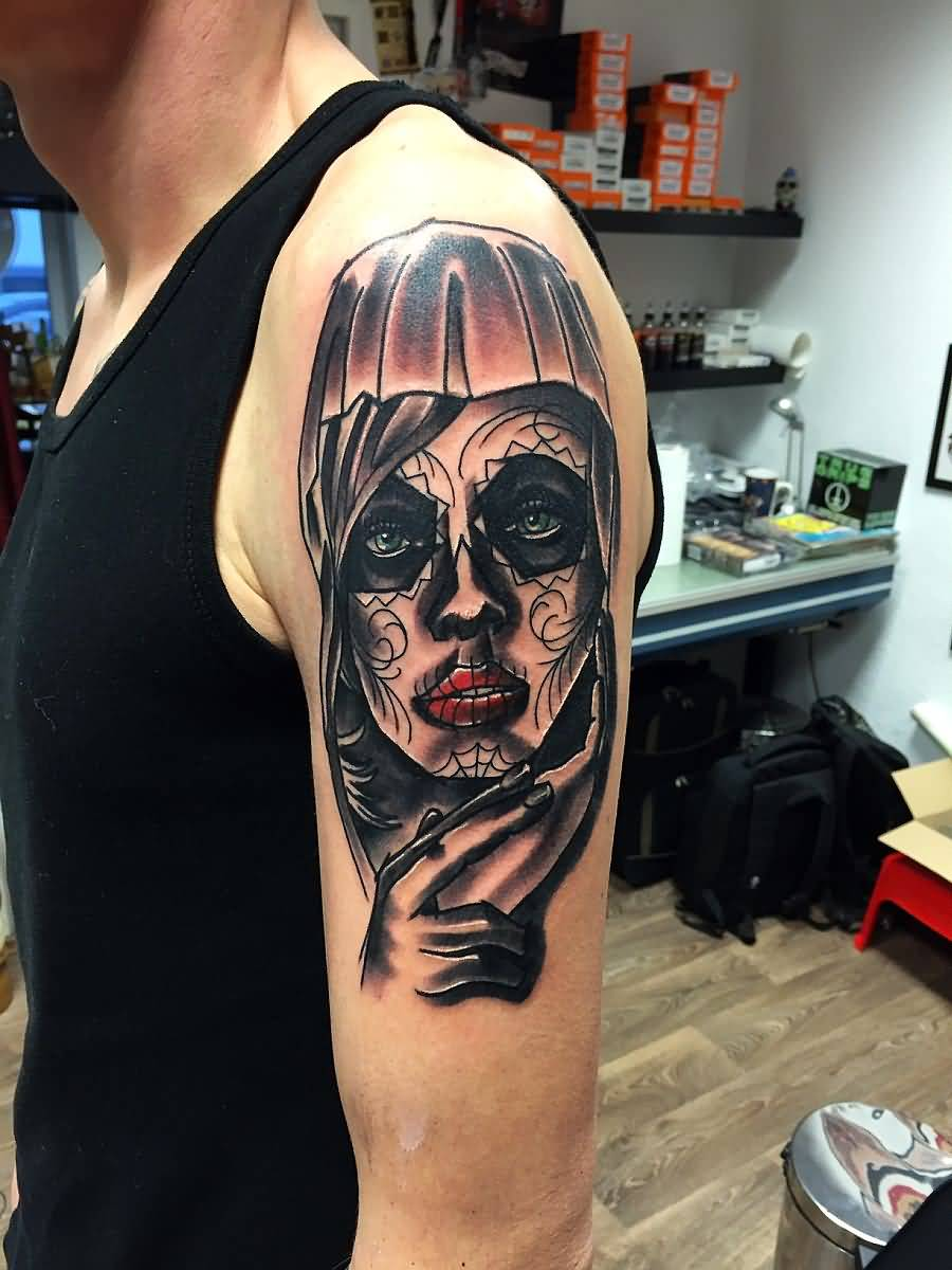 Half Sleeve Nice Catrina Girl Tattoo For Men