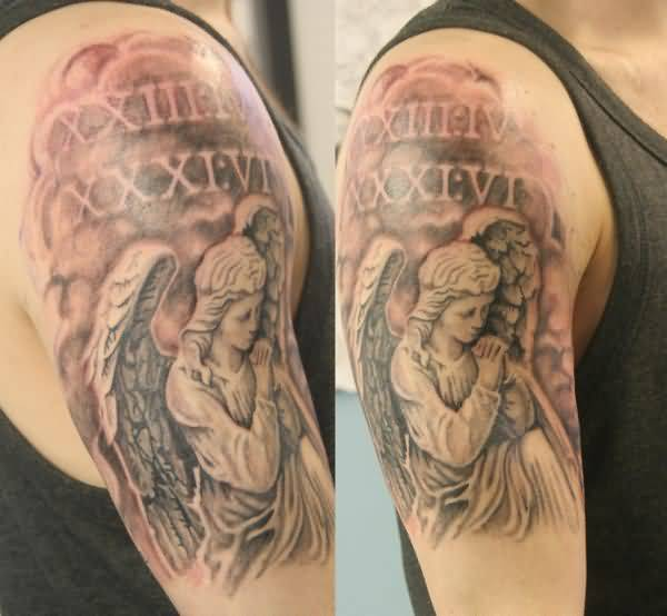 Half Sleeve Nice Close Hands Sad Praying Angel Tattoo Design With Roman Numerals