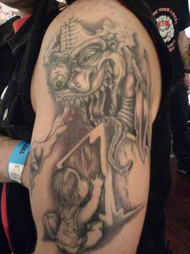 Half Sleeve Nice Extreme Demon With Child Tattoo