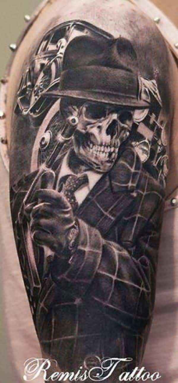 Half Sleeve Nice Gangsta Skeleton Tattoo