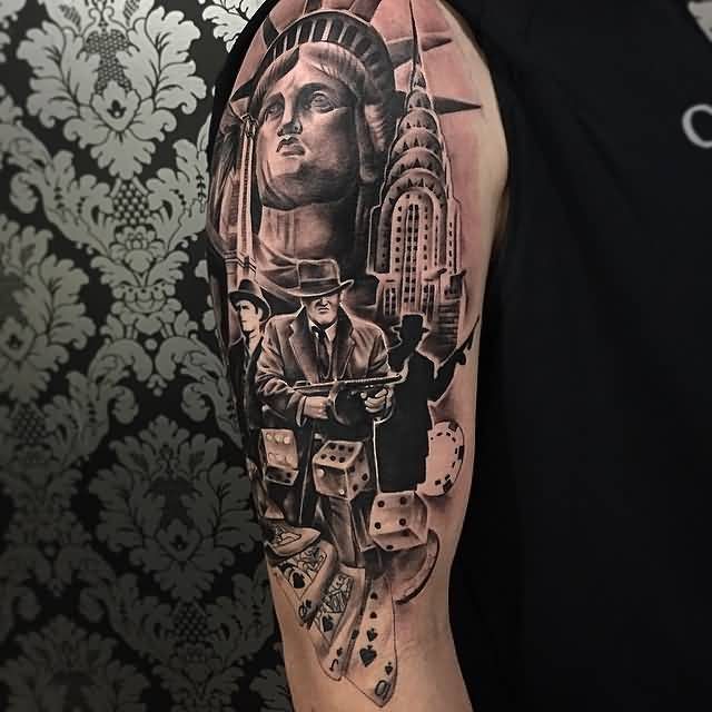 Half Sleeve Nice Gangsta Statue Of Liberty With Dice And Ace Cards Tattoo