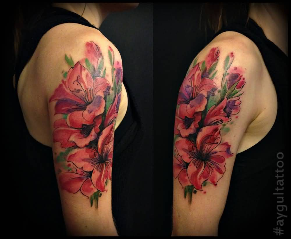Half Sleeve Nice Gladiolus Flower Tattoo Design