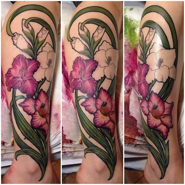 Half Sleeve Nice Gladiolus Flower Tattoo