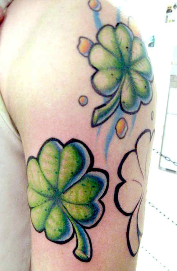 Half Sleeve Nice Green Ink Shamrock Tattoo