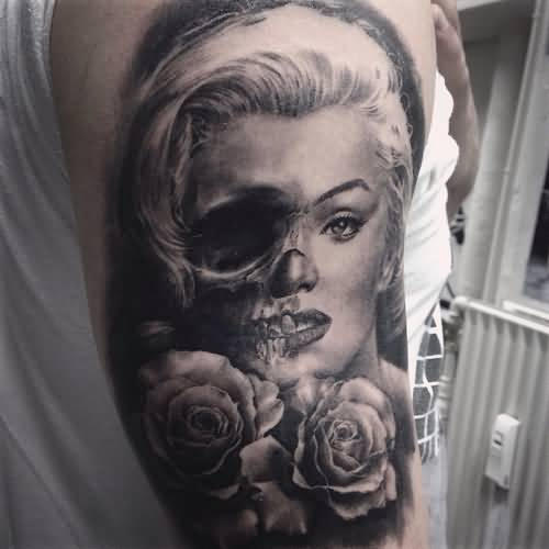 Half Sleeve Nice Half Skull And Marilyn Monroe Tattoo With Roses