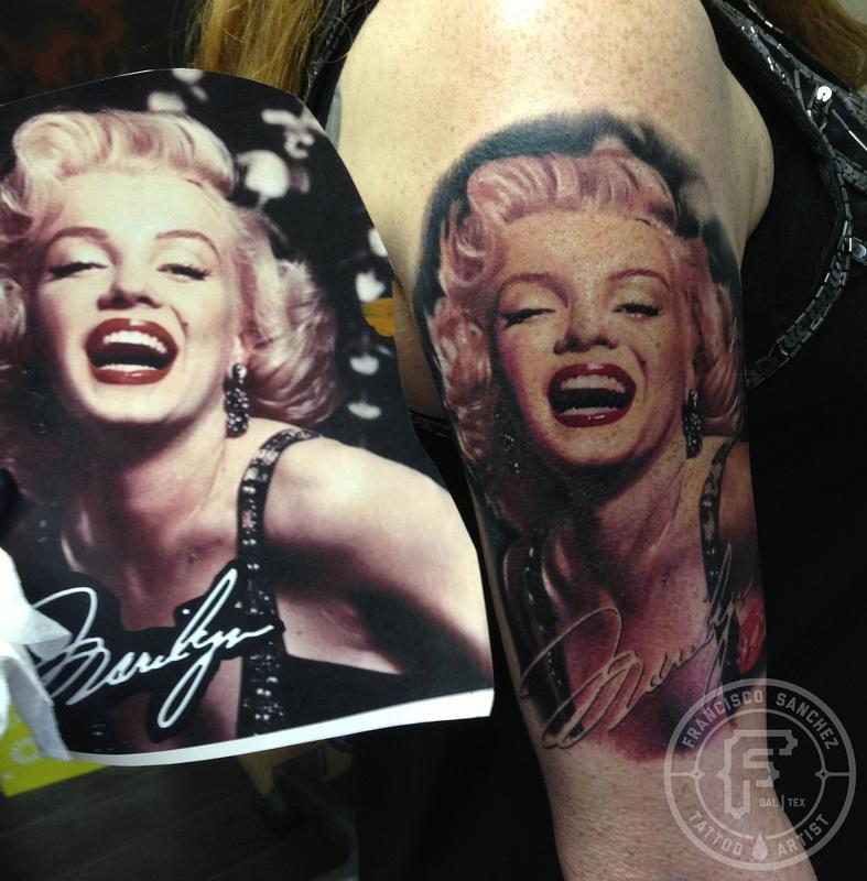 Half Sleeve Nice Marilyn Monroe Portrait Face Tattoo