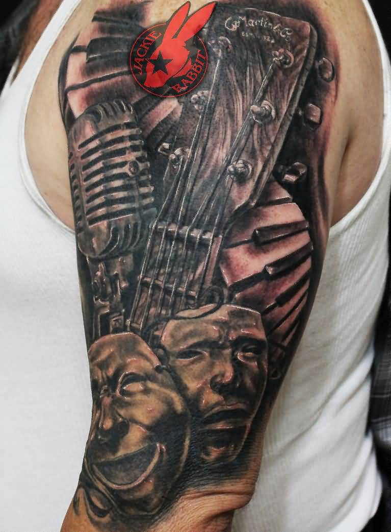 Half Sleeve Nice Mask Guitar Piano Keys Tattoo By Jackie Rabbit