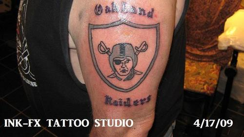 Half Sleeve Nice Oakland Raiders Tattoo With Text