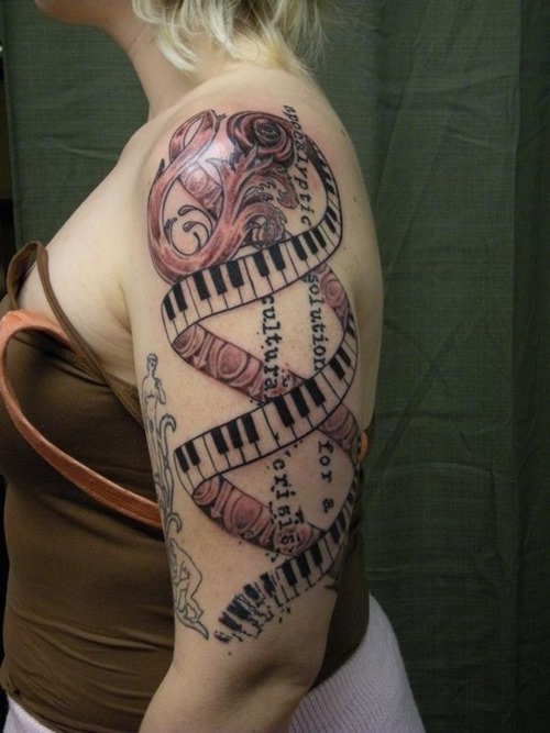 Half Sleeve Nice Piano Keys DNA Tattoo Design Idea