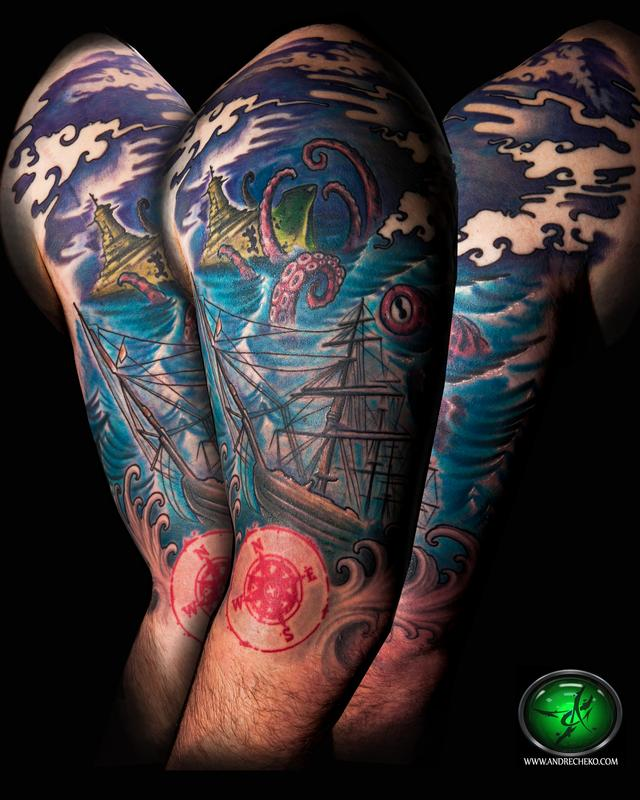 Half Sleeve Nice Red Compass Pirate Ship Octopus Tattoo
