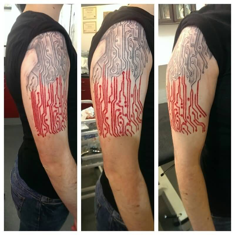 Half Sleeve Nice Scarification Upper Sleeve Circuit Tattoo