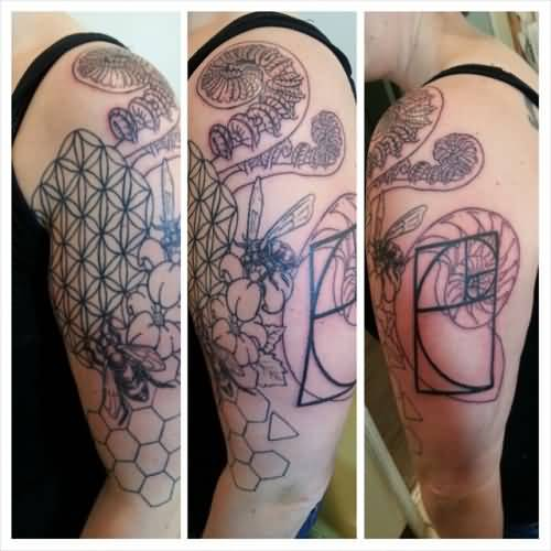 Half Sleeve Nice Science Flowers And Mix Nature Tattoo