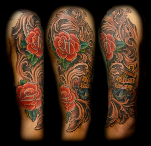 Half Sleeve Old School Rose Flowers Tattoo