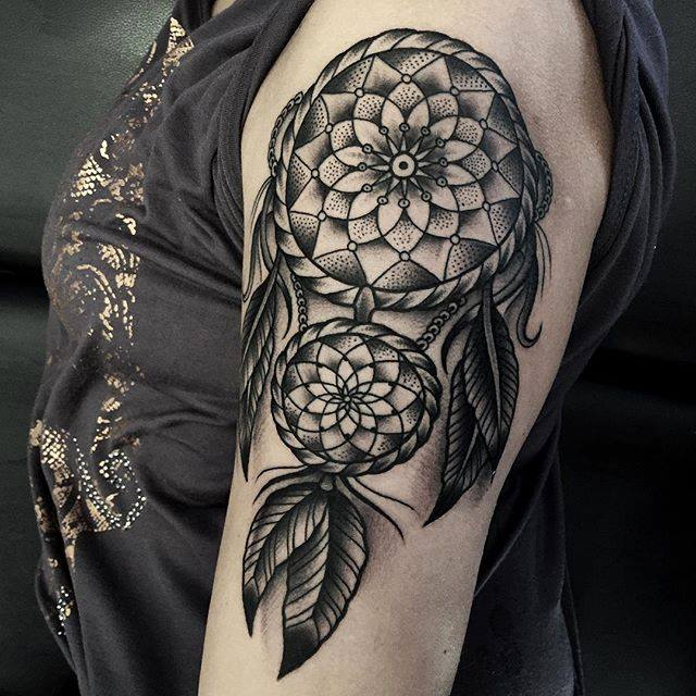 Half Sleeve Outstanding Dream Catcher Feather Tattoo Design By Samuele Briganti