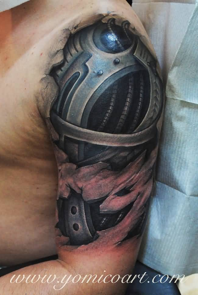 Half Sleeve Ripped Skin Awesome Looking Extreme Biomechanical Tattoo