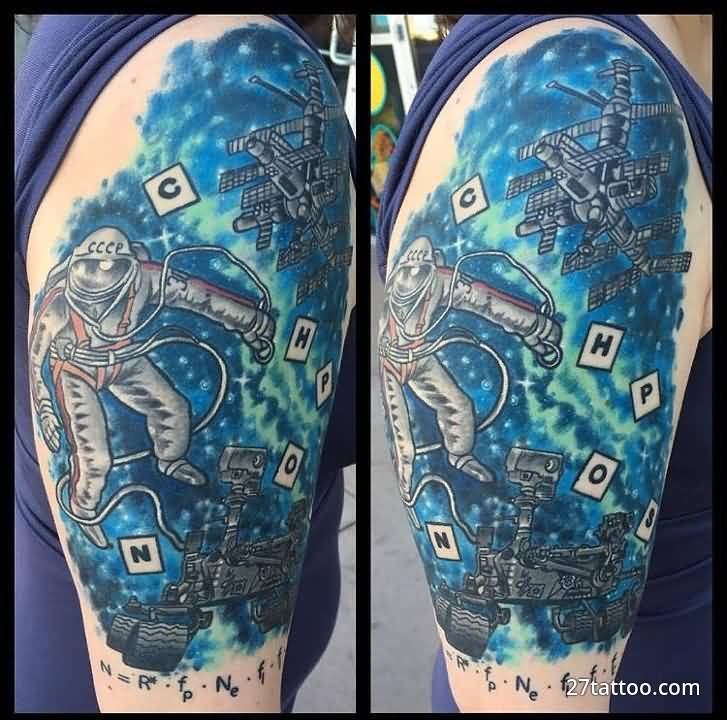 Half Sleeve Science And Space Tattoo Design Idea