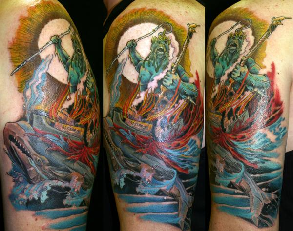 Half Sleeve Sea Creature Monster Tattoo