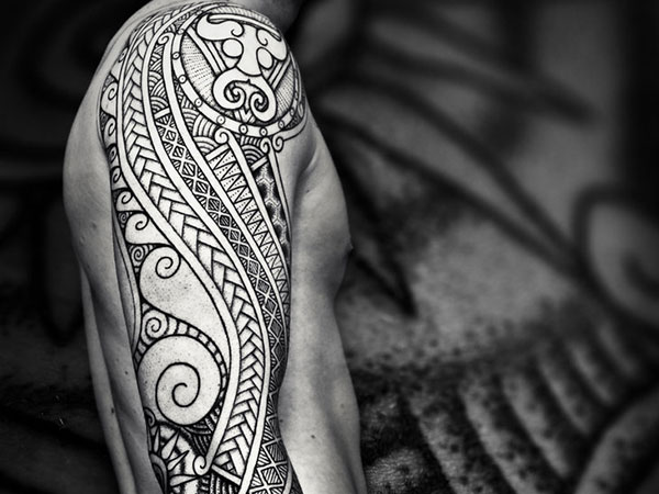 Half Sleeve Tribal Samoan Tattoo