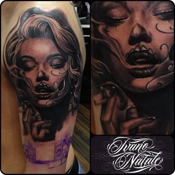 Half Sleeve Wonderful And Classy Latino Girl Face Tattoo For Men