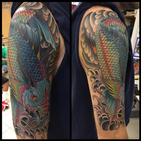 Half Sleeve Wonderful Sea Creature Tattoo