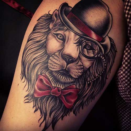 Handsome Lion Face Old School Tattoo