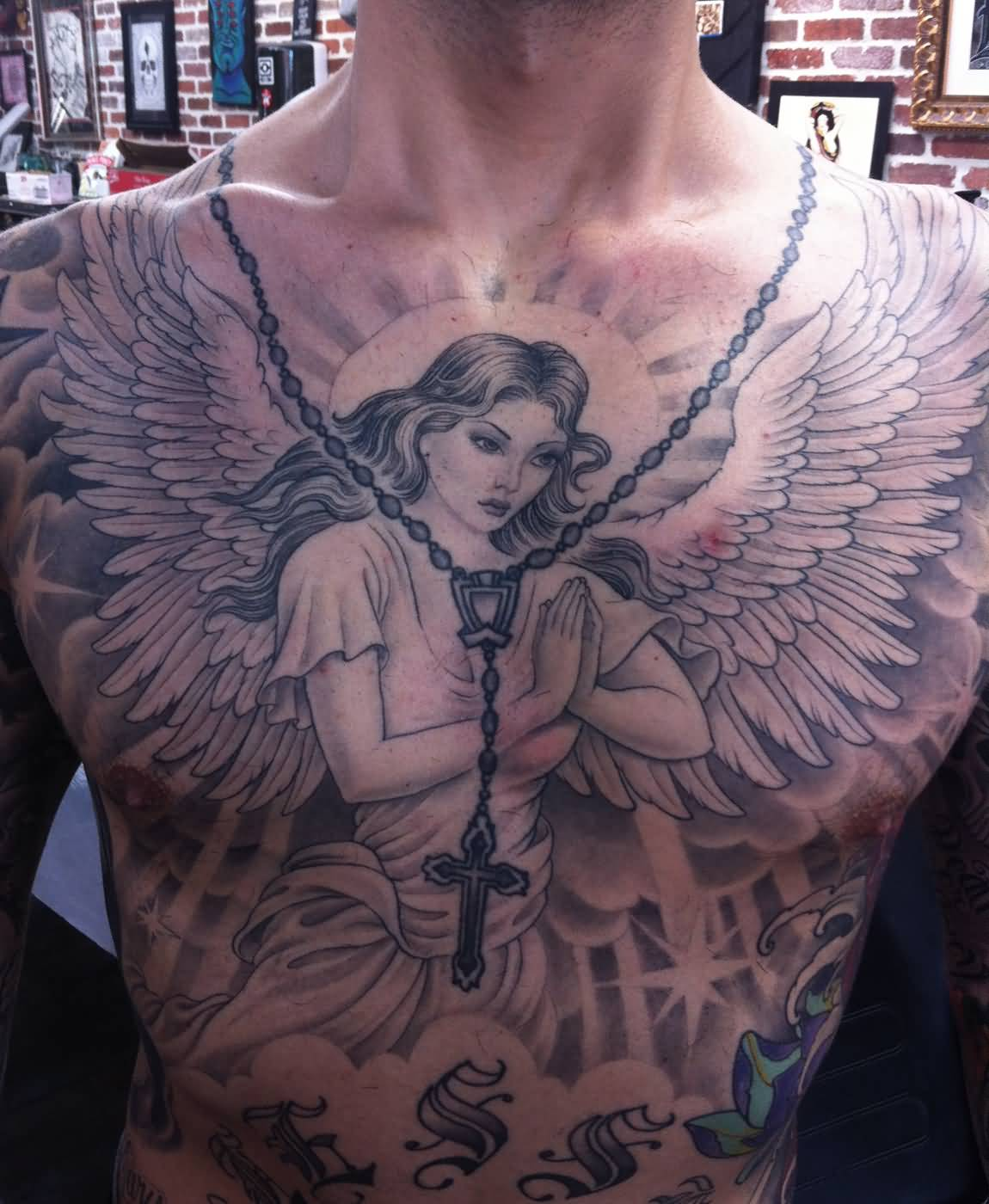 Handsome Men Full Front Body Praying Angel Tattoo Design With Necklace Cross