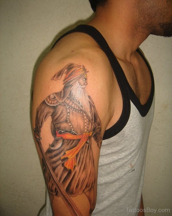 Handsome Men Show NicePunjabi Baba Deep Singh G Tattoo