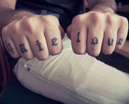 Hate Love Knuckle Finger Tattoo