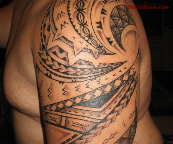 Hawaiian Samoan Tattoo On Half Sleeve (2)