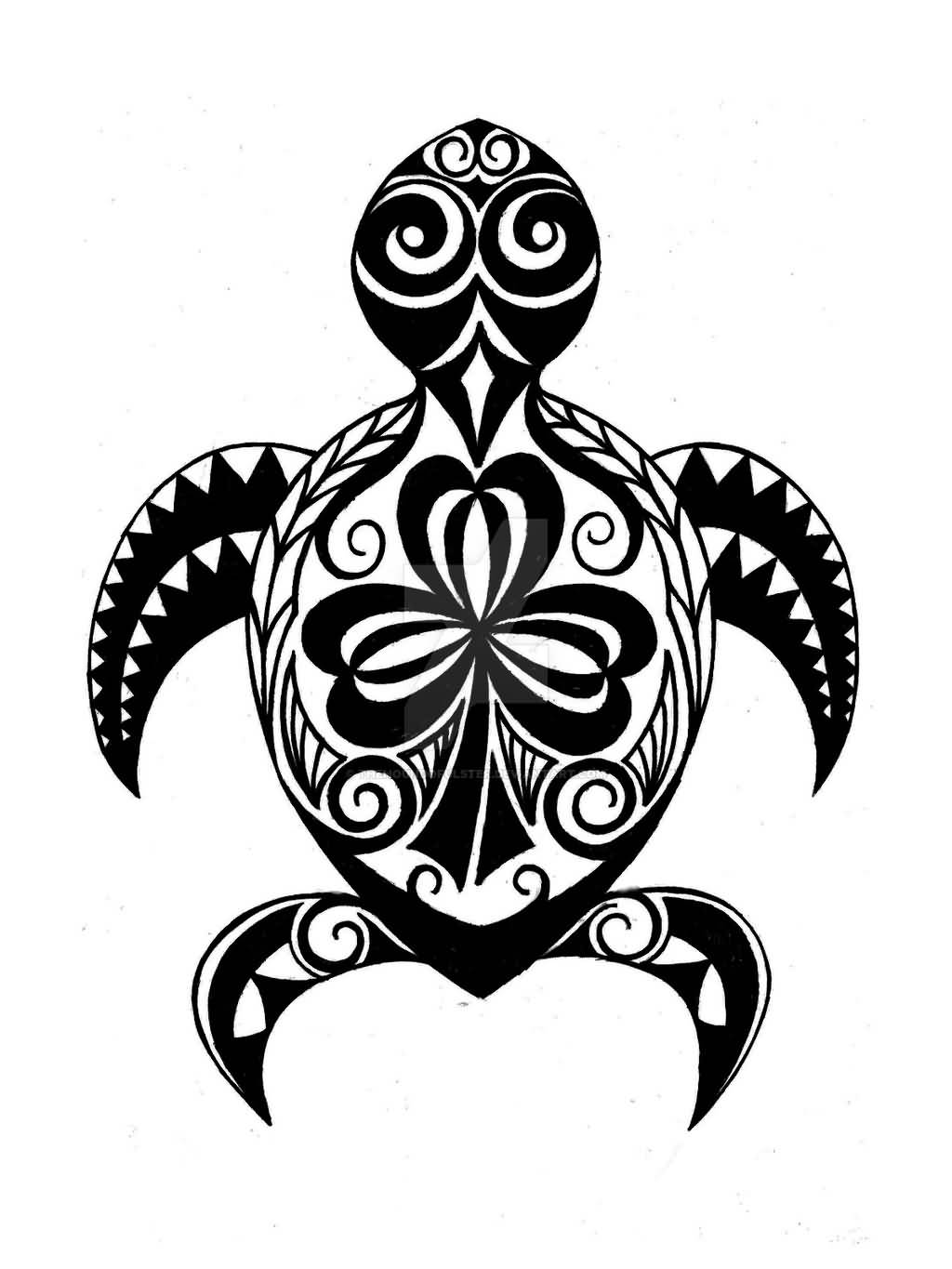 Hawaiian Tribal Amazing Black And White Shamrock Tattoo
